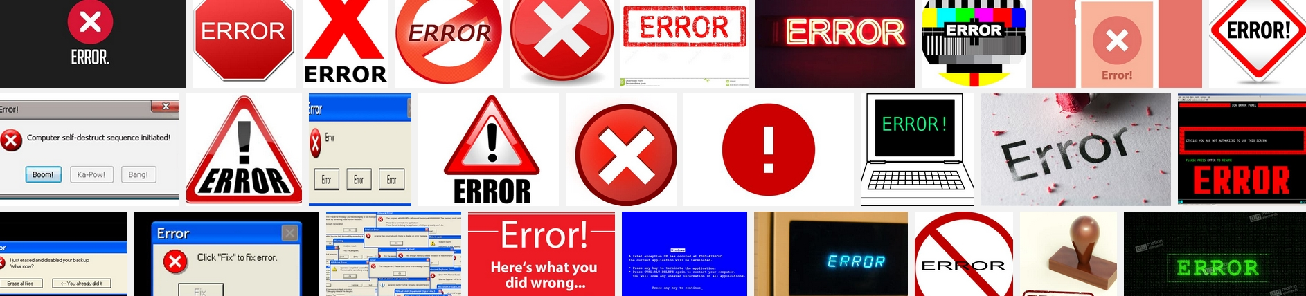 some random images of 'error'